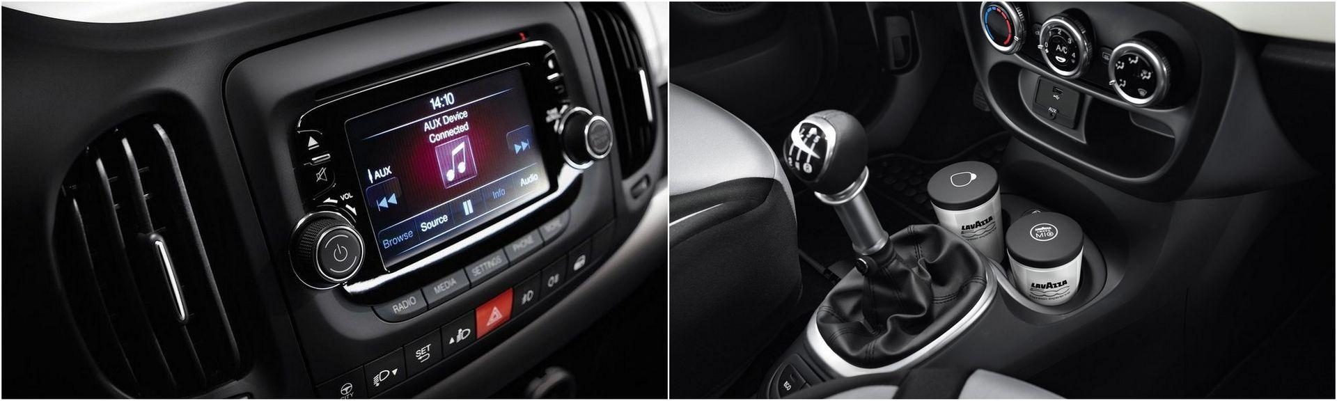 FIAT 000L — интерьер, мультимедия UConnect равно разъемы AUX/USB